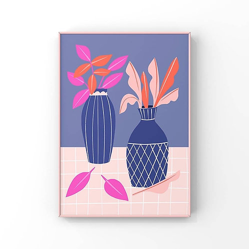 Blue Vases And Pink Leaves A4