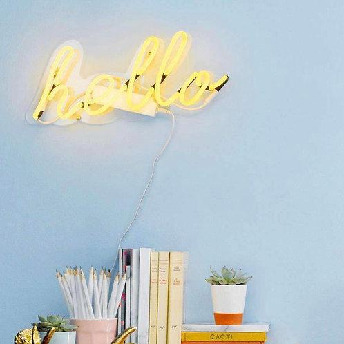 Hello Neon Wall Light- Bright Yellow