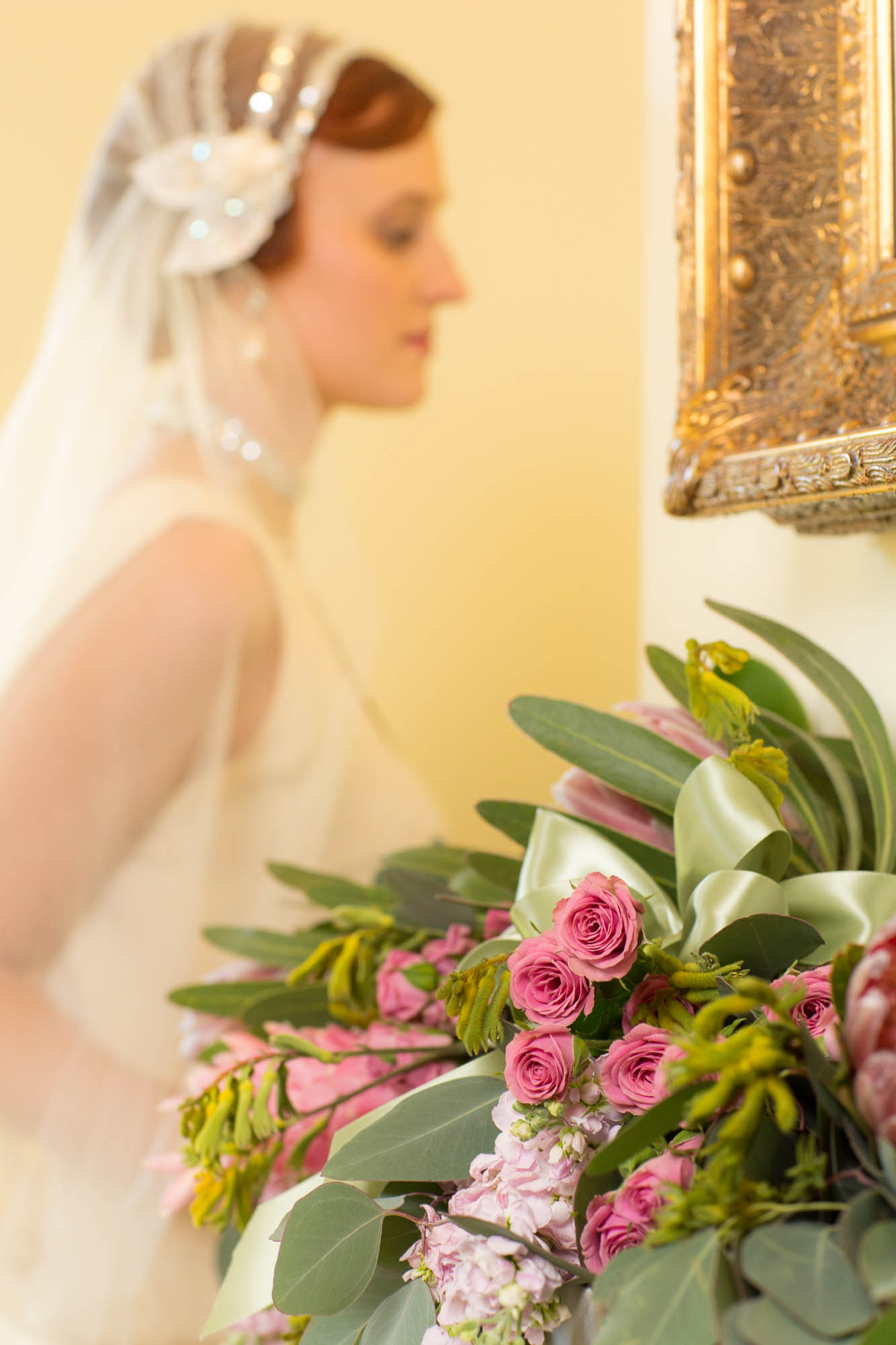Bride at Mantelpiece