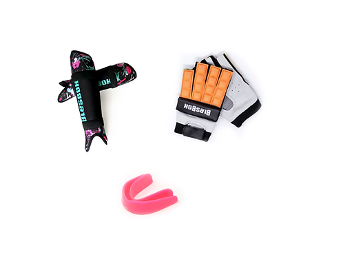 KIT PROTECCION: CANILLERAS + BUCAL + GUANTE