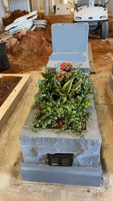 גינון מיוחד על מצבת אבן אפורה מיוחדת.jpeg