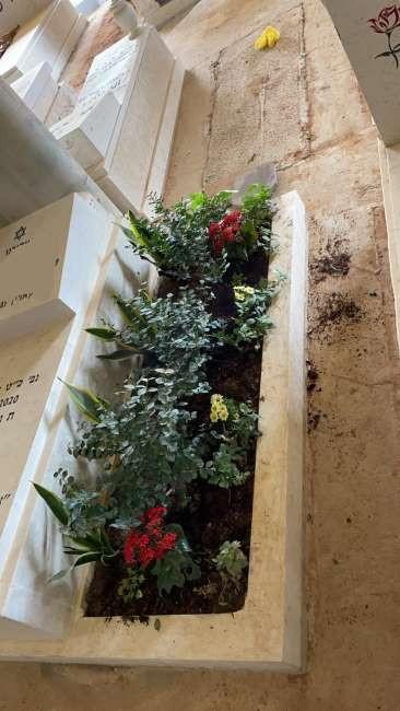 נטיעת פרחים לצד מצבת אבן.jpeg