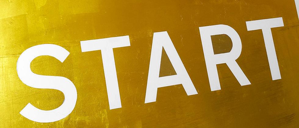 Gold Start Sign