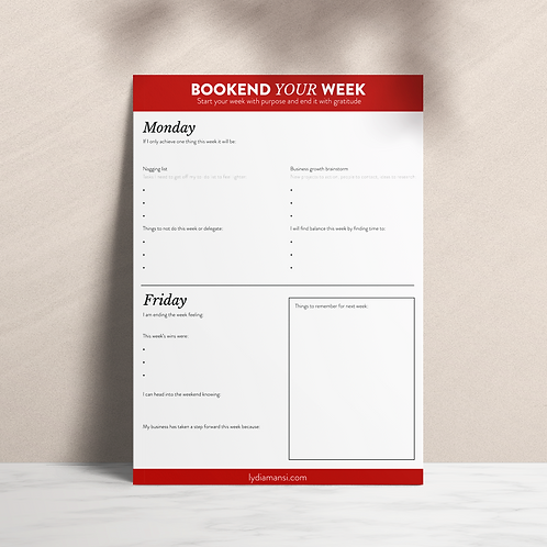 Bookend Your Week Planner