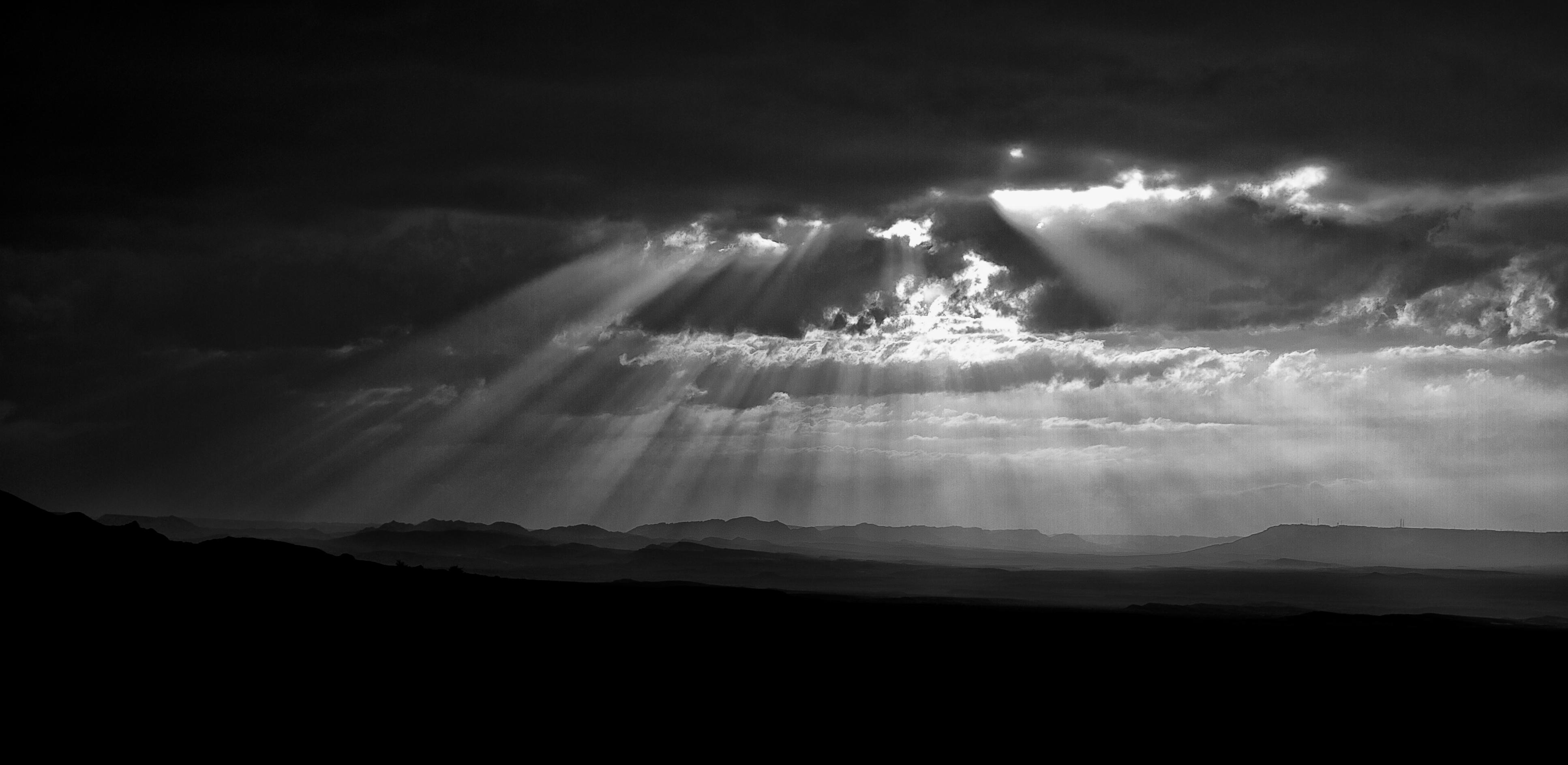 Sun beams over Ramon Crater