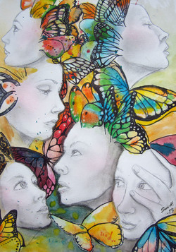 Faces and butterflies