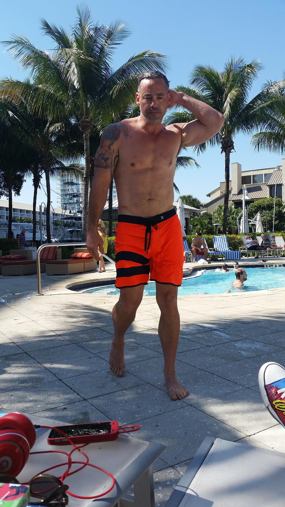 Nicholas Brendon poolside