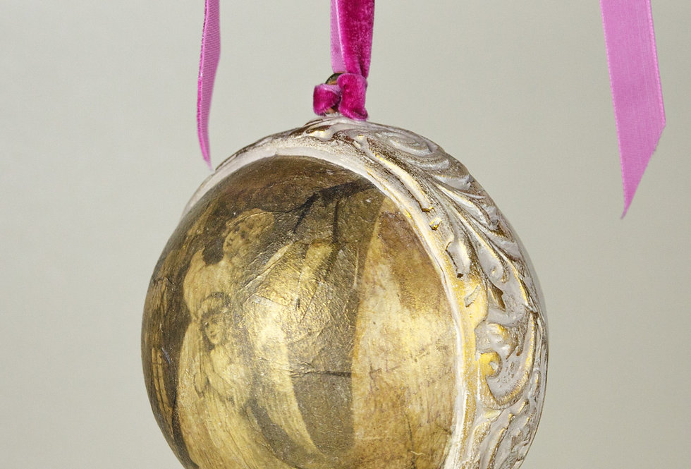 LARGE DECOUPAGE AND CROWN BAUBLE