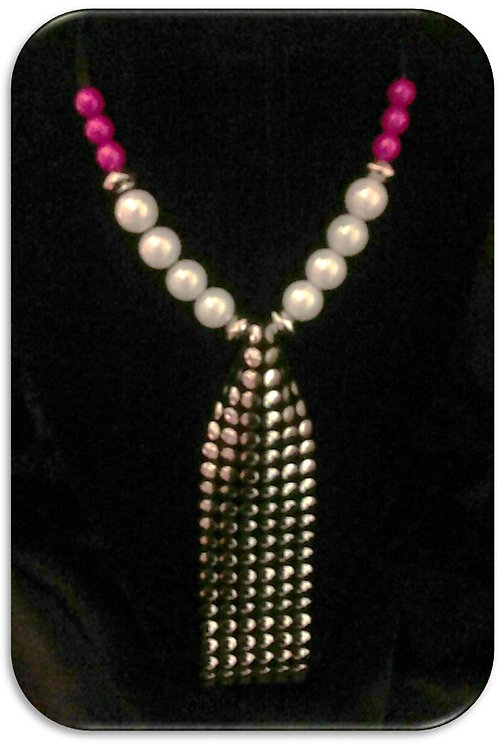 Large Studded Pendant - Pink White Pearls