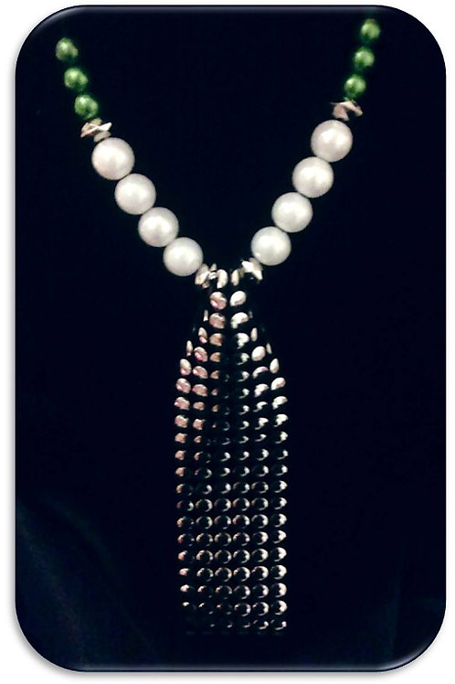 Large Studded Pendant - Green White Pearls