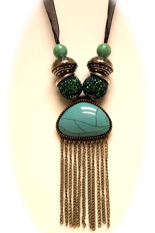 Turquoise Fringe Pendant Necklace