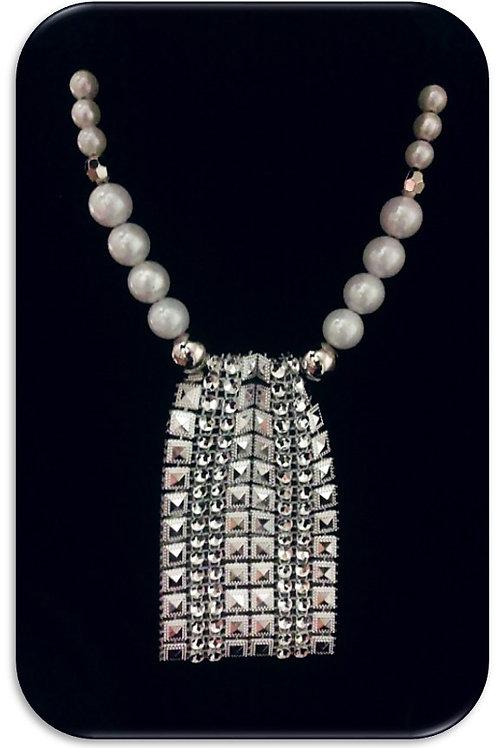 Large Rhinestone Pendant - White Pearls