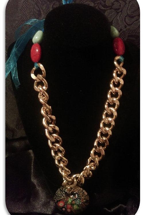 Glass Token Pendant - Gold Link