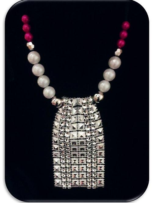 Large Rhinestone Pendant - Pink Pearls