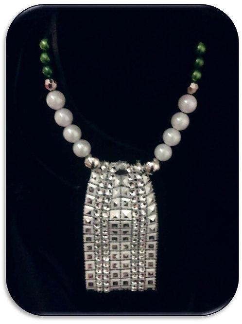 Large Rhinestone Pendant - Green Pearls