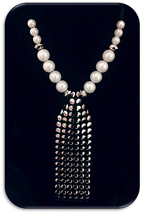 Large Studded Pendant - White Pearls