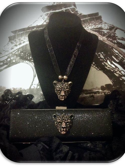 Jaguar Clutch & Necklace Set