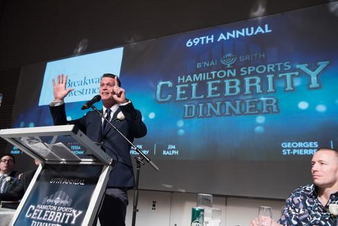 January 2020, Speaking at Hamilton Celebrity Sports Dinner