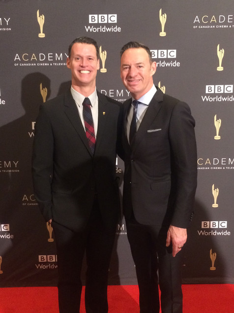 With partner Rob Mabee. In 2017 Mark was nominated in the category of Best Sports Analyst, Canadian Screen Awards