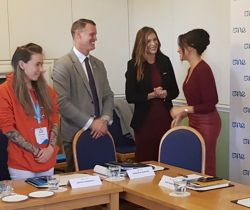 October 2019 at Windsor Castle - Mark co-moderated roundtable discussion with Duke and Duchess of Sussex and One Young World delegates.