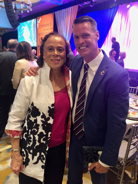 With Lonnie Ali, widow of Muhammad Ali.  Mark recieved a Muhammad Ali Humanitarian Award for Gender Equality, September 2019