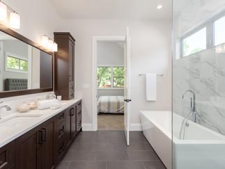 Master bathroom in new luxury home. Tile