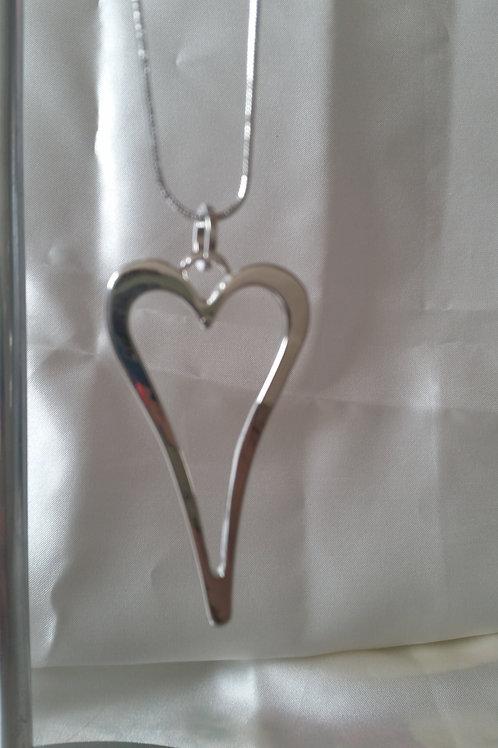 heart long drop necklace