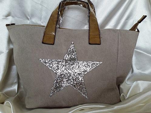 Star Canvas Bag Grey
