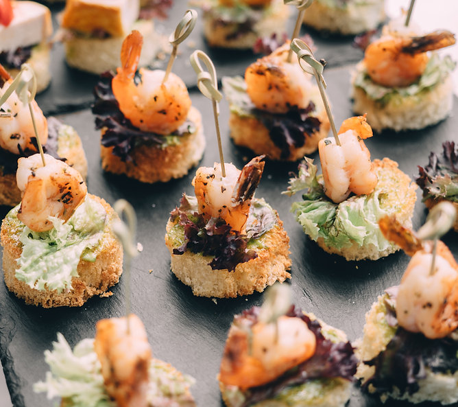 Fish, vegetable canapes on festival wedd