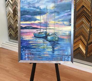Just in and custom framed Art of Sailboat Scene