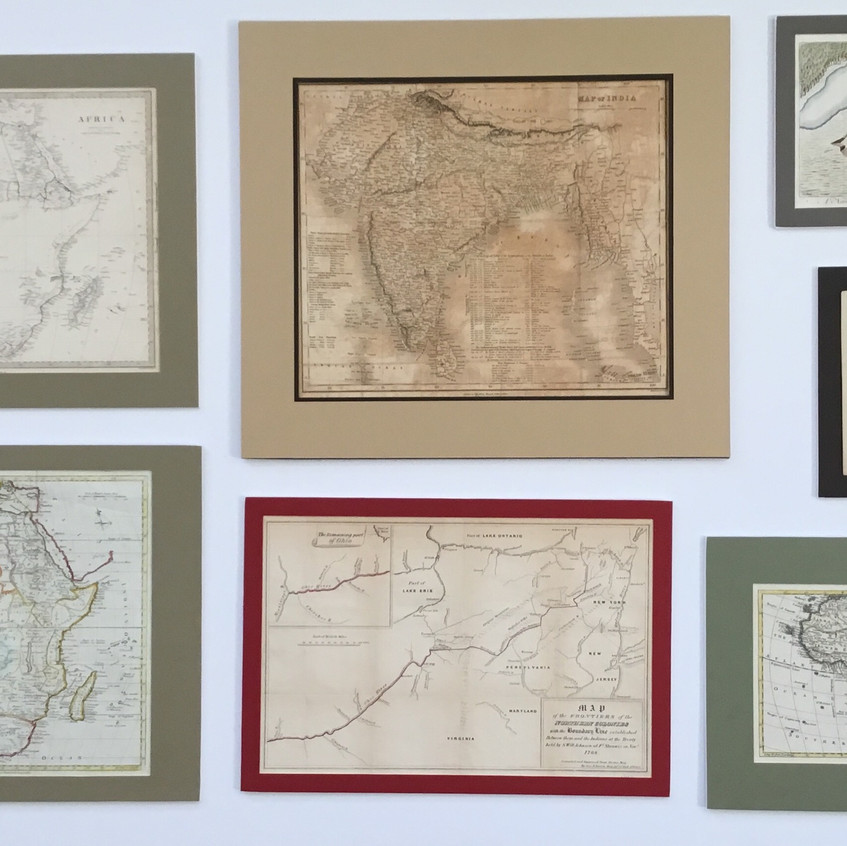 Collaged Antique Maps at Art Frame Solutions, Reston VA.