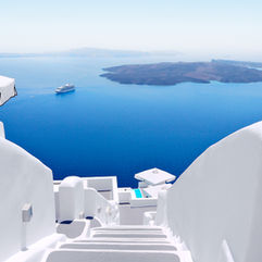 Interior and Architecture photography of a hotel's staircase on the island of Santorini - Dubai Photography.