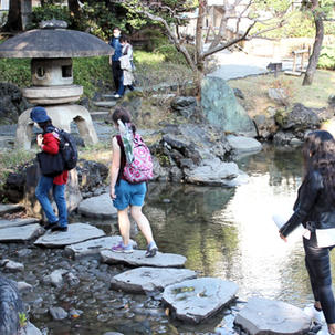 stepping stones in a pond at Japanese arden