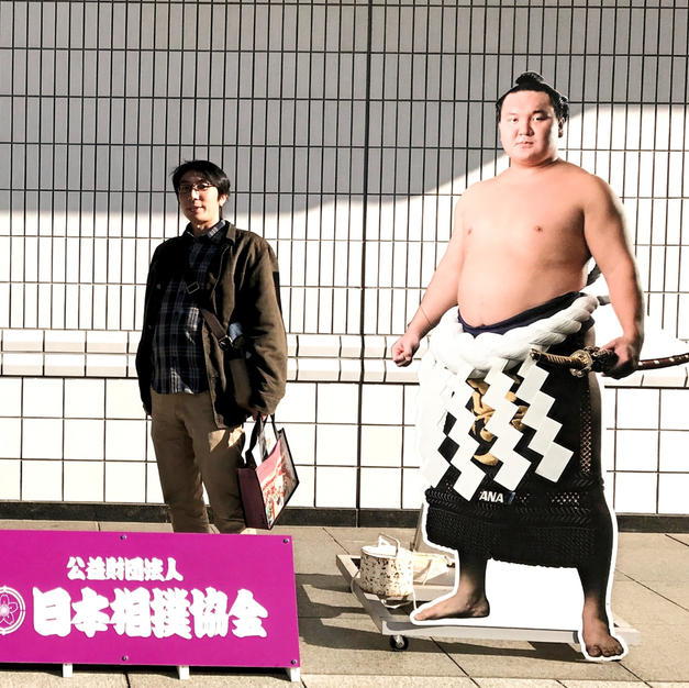 Life size panel of yokozuna Hakuho at Kokugikan sumo stadium