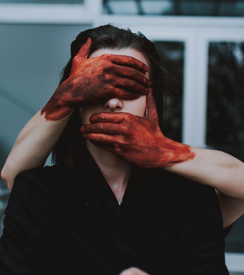 Blood on hands. see no evil, speak no evil