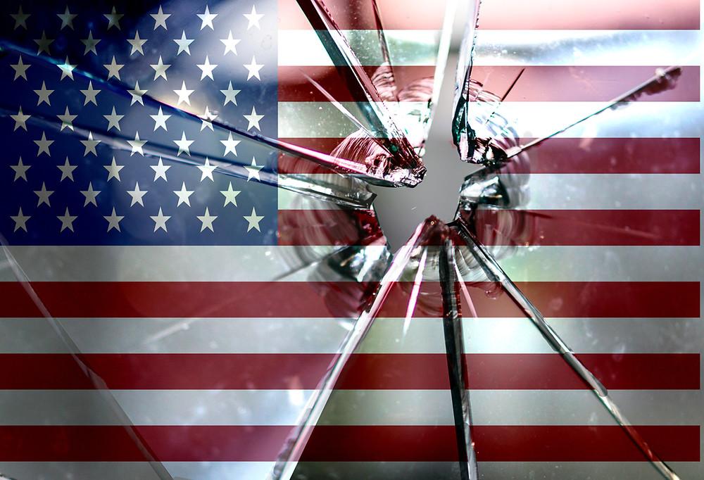 American Flag shattered