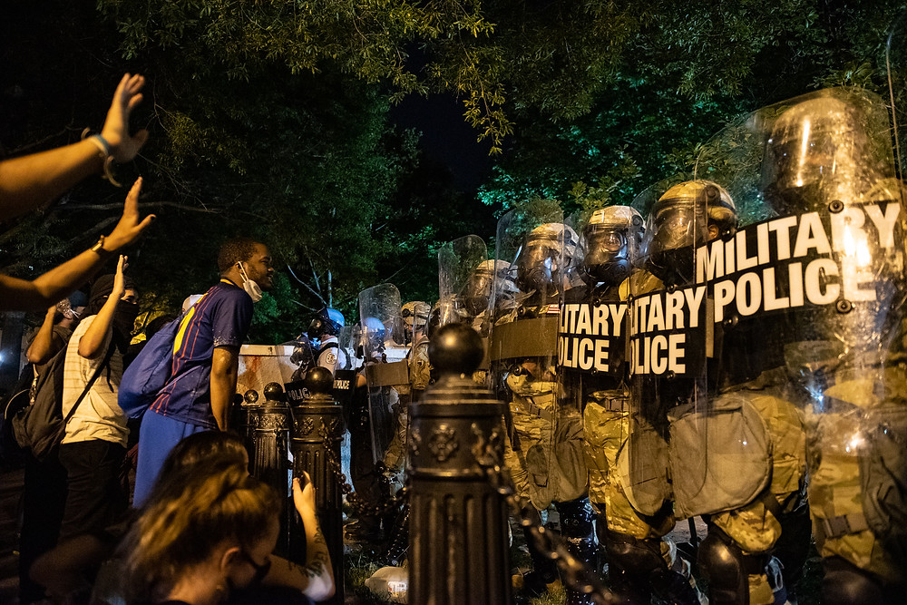 George Floyd protests in Washington DC. H St. Lafayette Square on 30 May 2020