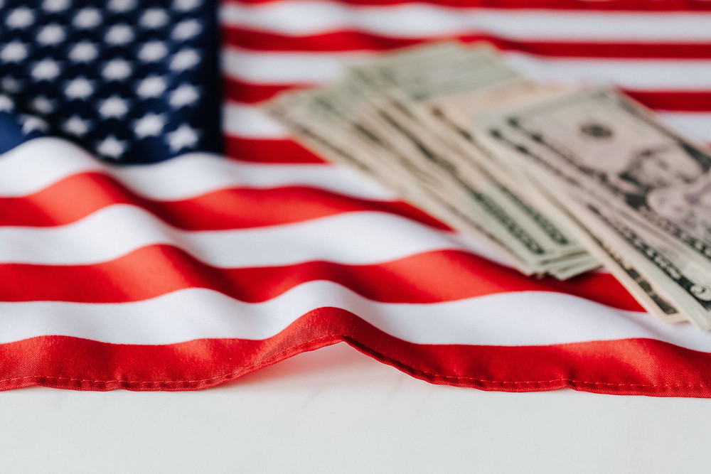 American Flag with Money on top