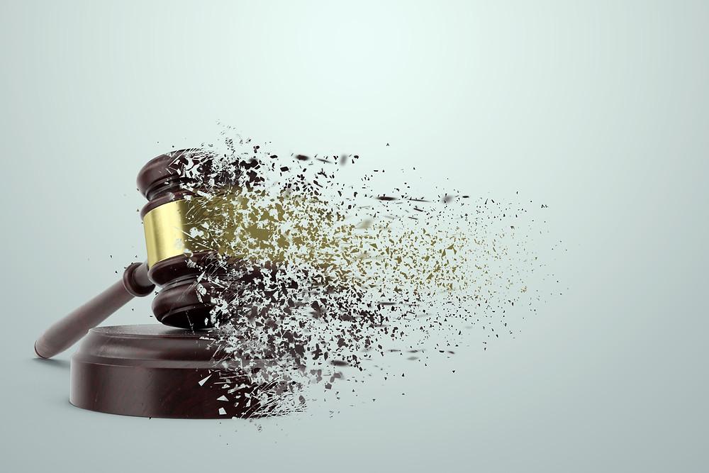 Gavel shattering - metaphor to democrat Kamala Harris' work as a prosecutor