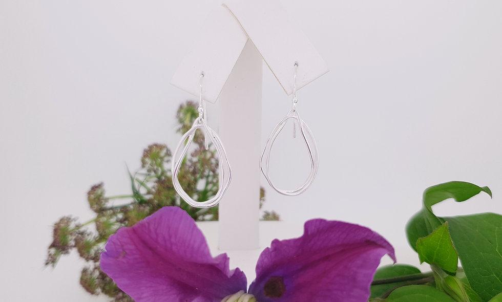 Silver Double Loop Earrings