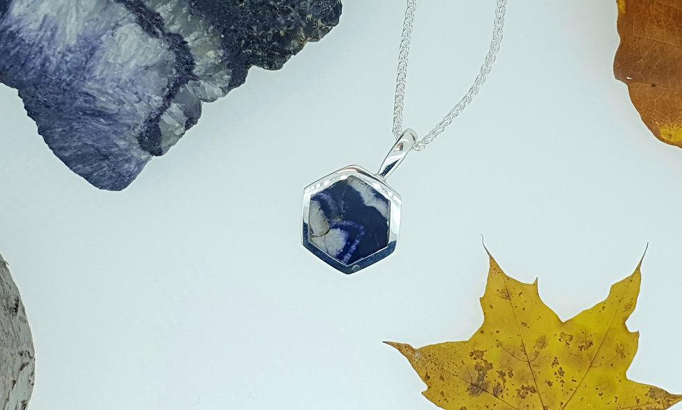 Silver and Blue John Hexagonal Pendant
