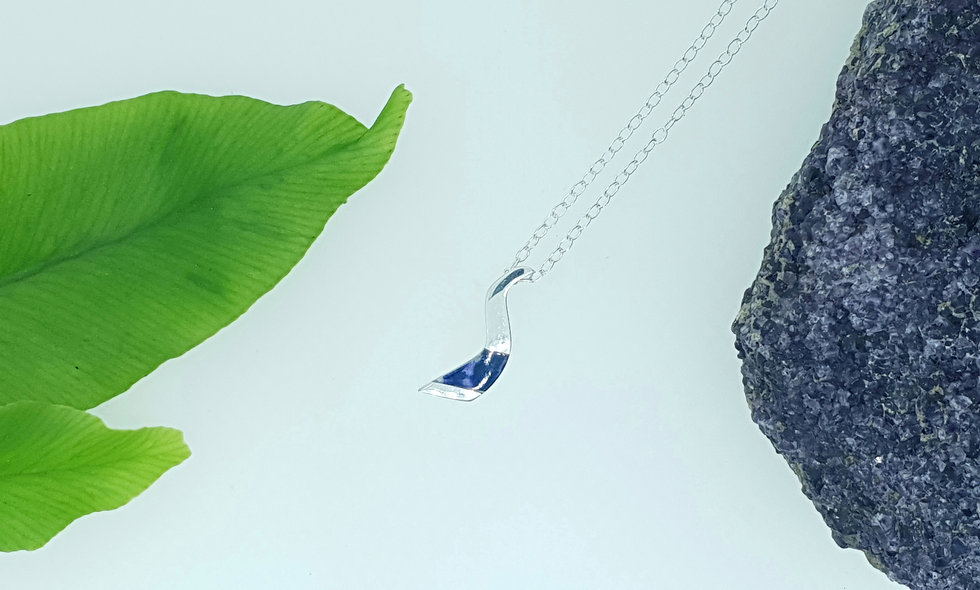 Silver and Blue John Small Wave Pendant