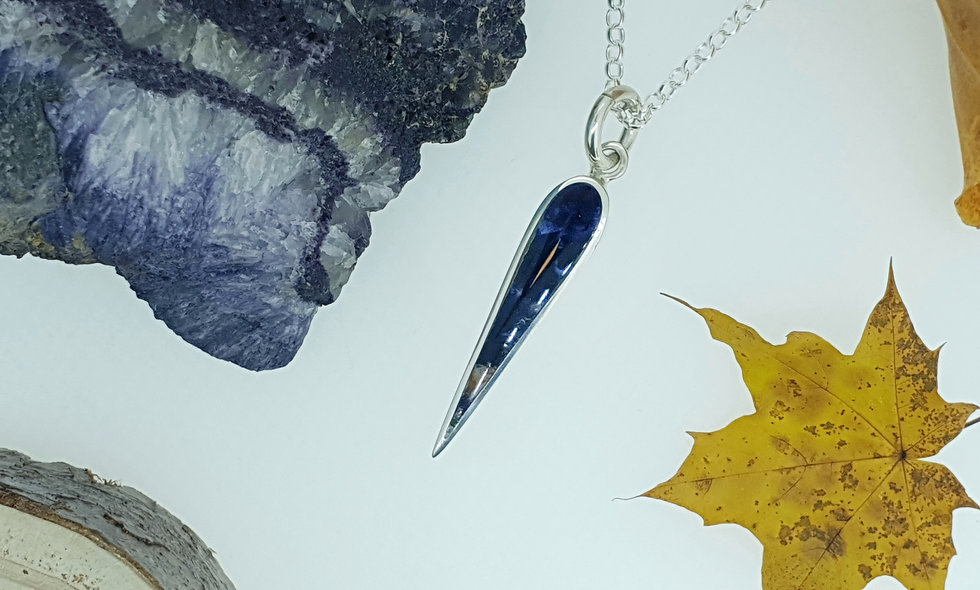Silver and Blue John Elongated Teardrop Pendant