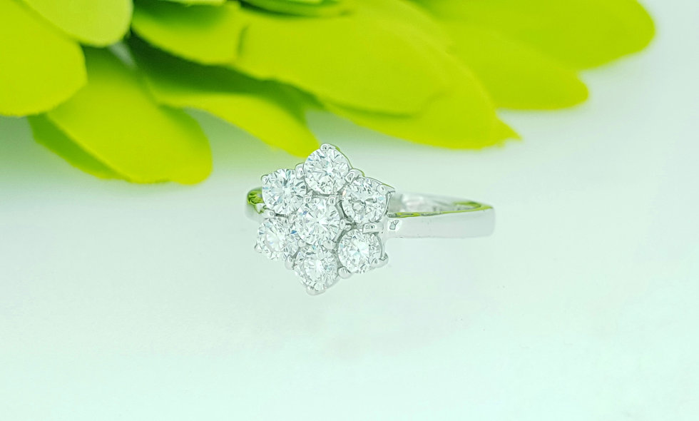 18ct White Gold Diamond Floral Cluster Ring