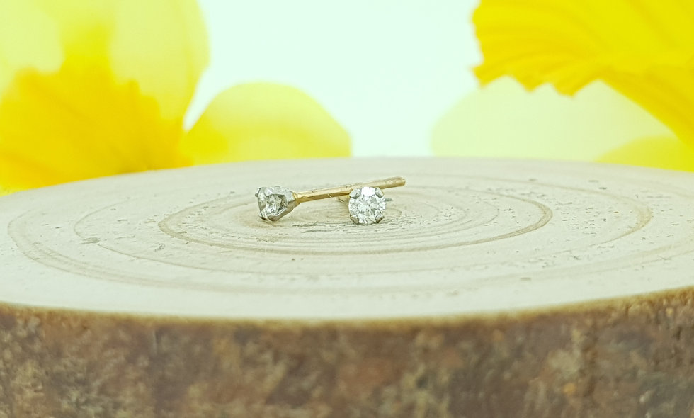 9ct White and Yellow Gold 0.14ct Diamond Stud Earrings