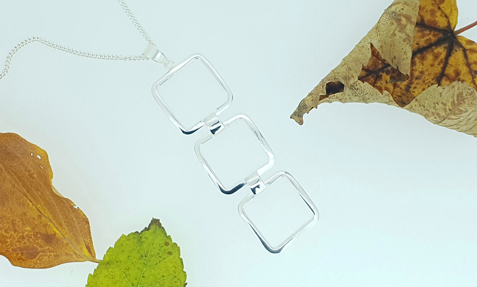 Silver Triple Square Pendant