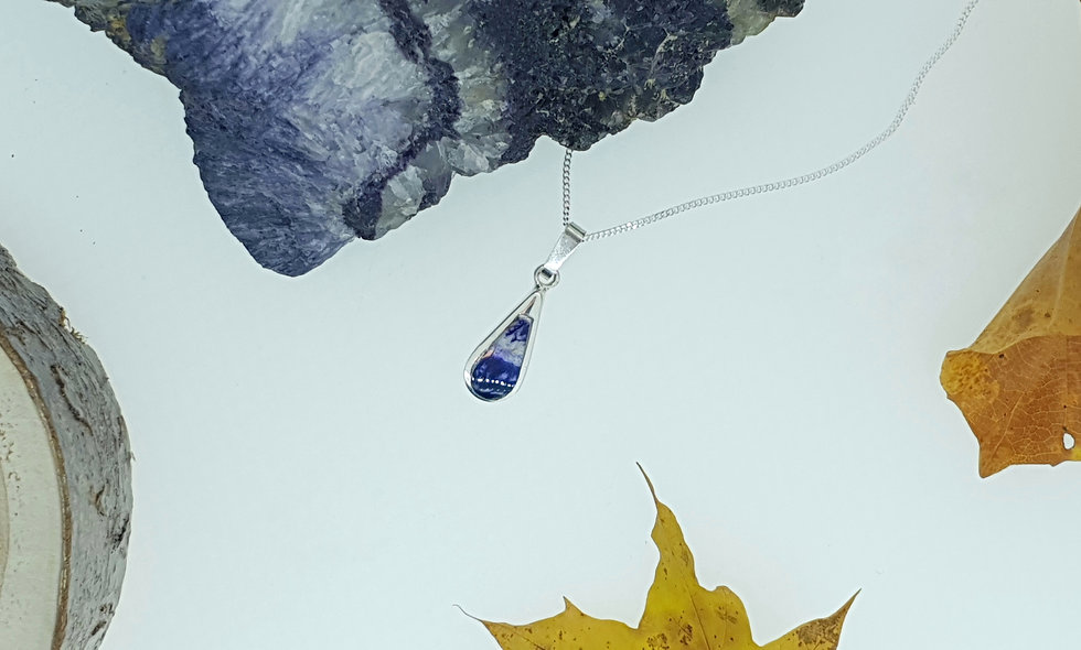 Silver and Blue John Teardrop Pendant