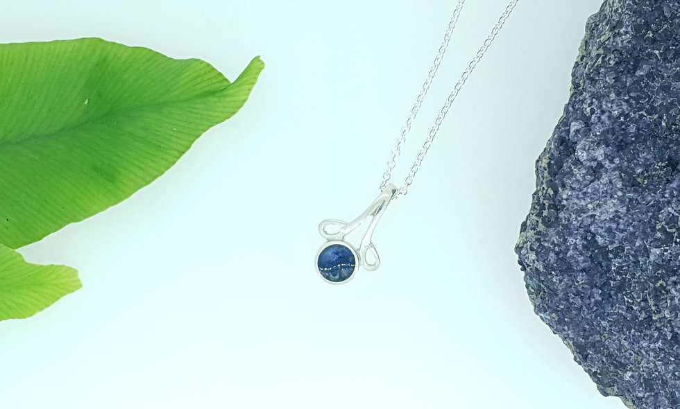 Silver And Blue John Round Pendant with Loop Design