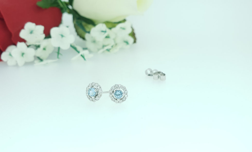 9ct White Gold Aquamarine and Diamond Cluster Stud Earrings
