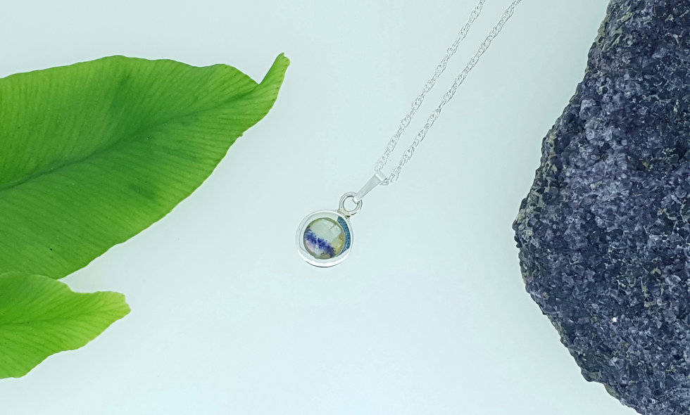 Silver and Blue John Small Round Pendant